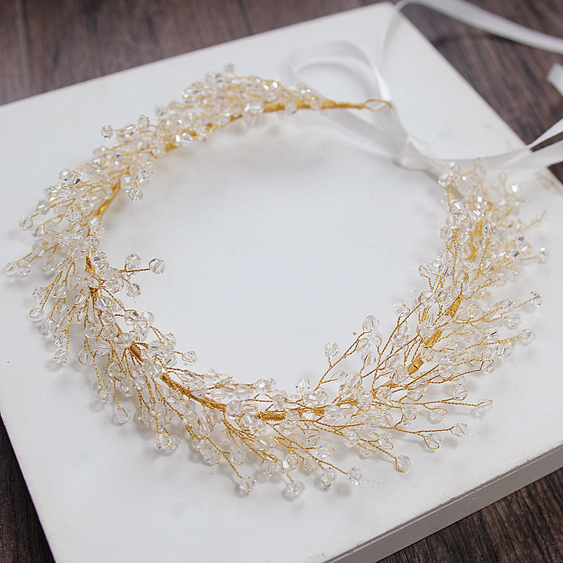 TREAZY Handmade Luxury Bridal Crystal Headband Bridesmaid Bride Gold Color Floral Frontlet Veil Jewelry Wedding Hair Accessories fashion bridal veils party wedding hair accessories flower girls bridesmaid hair band floral lace veil headdress free shipping