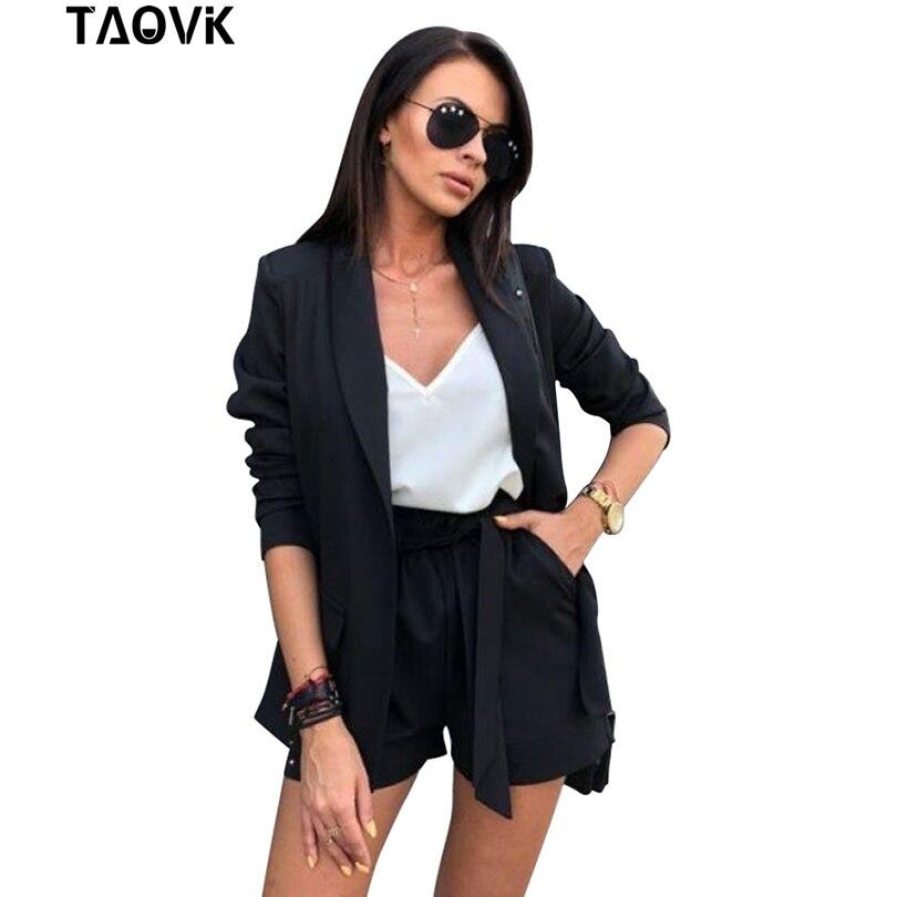 Женский костюм с шортами TAOVK, комплект из блейзера с длинным рукавом и шорт для весны и лета, офисные деловые костюмы для работы