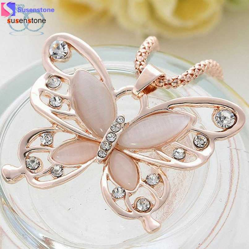 SUSENSTONE Fashion Womens Lady Rose Gold Opal Butterfly Pendant Necklace Sweater Chain #7-8