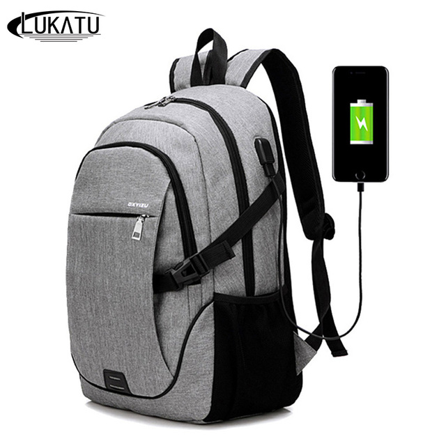 652b68373751 LUKATU Men USB Charging Backpack Male Canvas Laptop Backpacks Man Women  School Bags Casual Student Waterproof Travel Backpack