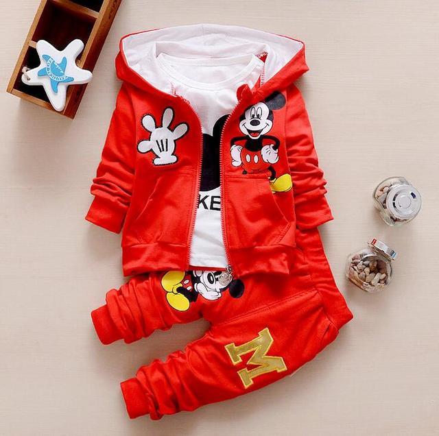 2017 crianças crianças baby boy set outono ternos do esporte roupas conjunto de treino roupa do menino da criança roupas de algodão do mouse para o menino 3 pcs