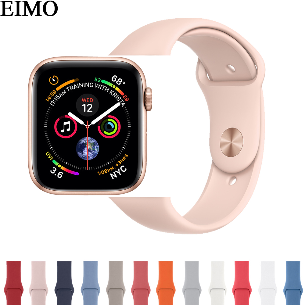 EIMO Sport Silicone strap For Apple Watch Band 42mm 44mm 40mm 38mm Iwatch Series 4/3/2/1 Wrist  Bracelet Watchband Watch Belt eimo silicone watch case strap for apple watch band 42mm 38mm bracelet wrist belt full screen protector case for iwatch 3 2 1