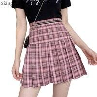 Large Sizes 4XL Pink Plaid Pleated Skirt Tulle Women Female Summer School Korean Fashion Mini Short Skirts with High Waist 2019