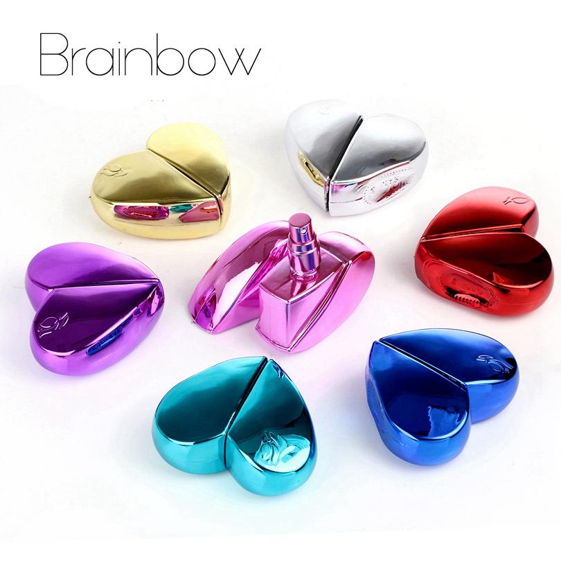Brainbow 1 Peça 25 ml Coração Projeto Recarregáveis Portátil Mini Spray Atomizador frasco de Perfume Vazio Garrafas de Metal Perfume Bottle & Viajante