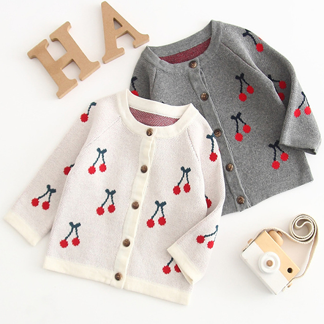 Bé cô gái quần áo Mùa Xuân Mùa Thu dệt kim Trẻ Sơ Sinh Toddler Cardigan Bé Bông Áo Khoác Dễ Thương Cherry Sơ Sinh Bé Quần Áo Thể Thao