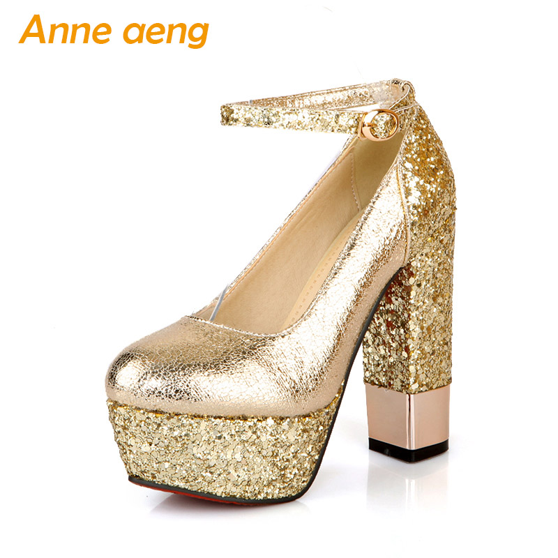 women pumps chunky high heel platform wedding shoes round toe sexy bling bridal shoes gold silver black evening party shoes women wedding silver shoes crystal sequins decor pumps lace slip on bridal super high heel round toe sexy ladies party shoes
