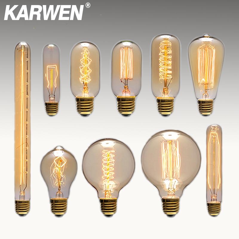 Старинная Ретро винтажная лампа Эдисона E27 лампа 40 Вт лампа накаливания ST64 G80 G95 220 В лампа Эдисона для украшения подвесной светильник