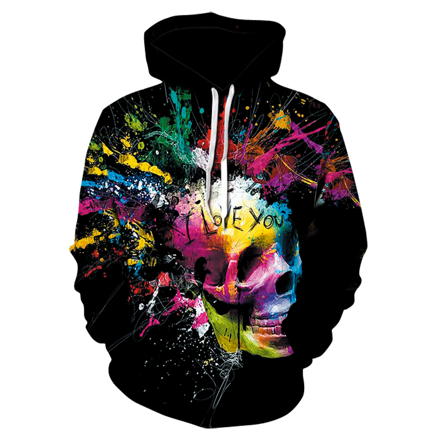 European and American style 3D colorful skull fashion men's hoodie Street casual party round neck hooded sweatshirt Cool hoodie