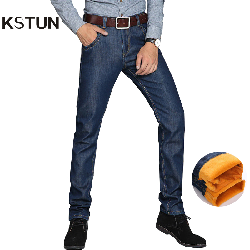 KSTUN Men's Winter Jeans Warm Thickness Fleece Casual Business Slim Straight Stretch Jean Men Blue Denim Male Pants Plus Size 40