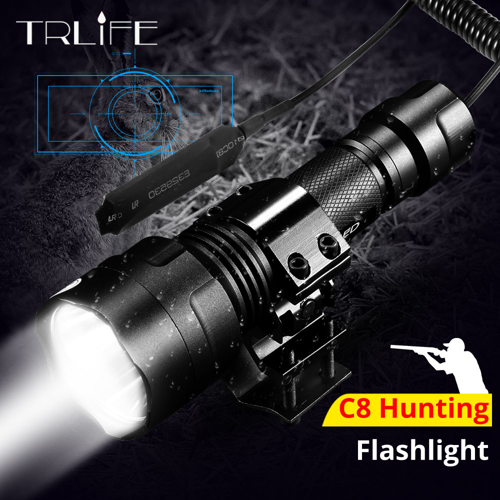 Night Hunting Flashlight For Gun Linterna LED Torch Light L2 Tactical Flash Light Lamp Use 18650 Charger Gun Mount