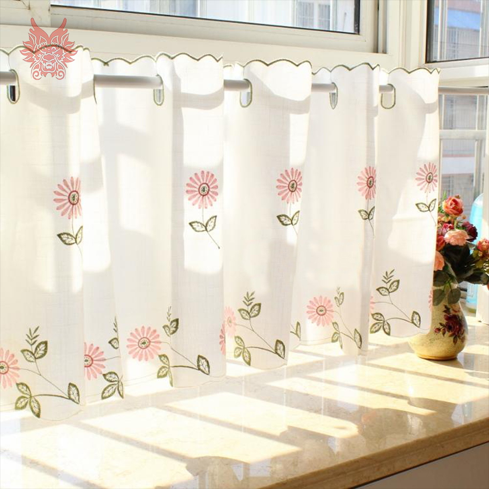 Pastoral estilo floral bordados rendas pura cortina bay for Cortinas de castorama pura