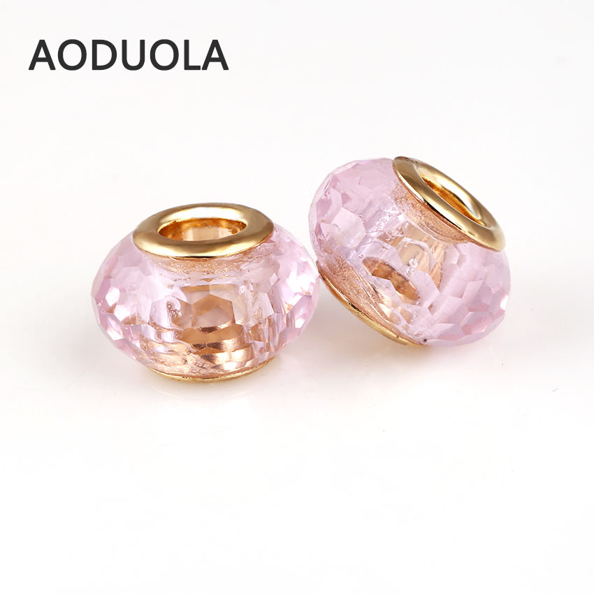 10 Pcs a Lot 96 Angular Face Glass Charm Gold Plate Beads DIY European Murano Czech Bead Fit For Pandora Charms Bracelet