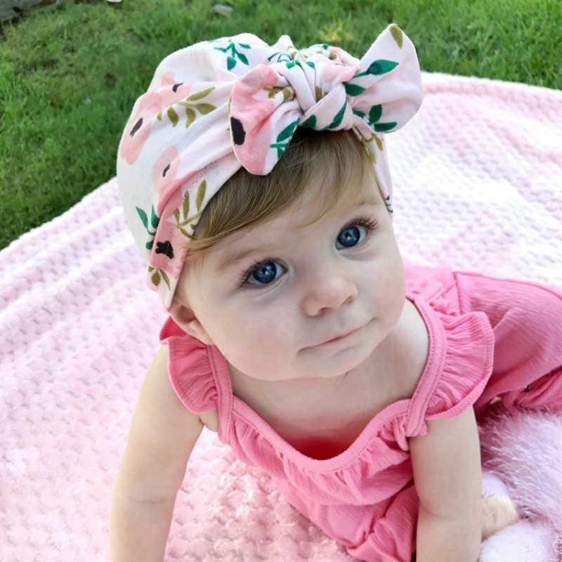 新生児幼児幼児キッズベビーかわいいソフトコットンノットプリントウサギの耳ためターバンハットインディアン花キャップベビーアクセサリー赤ちゃん