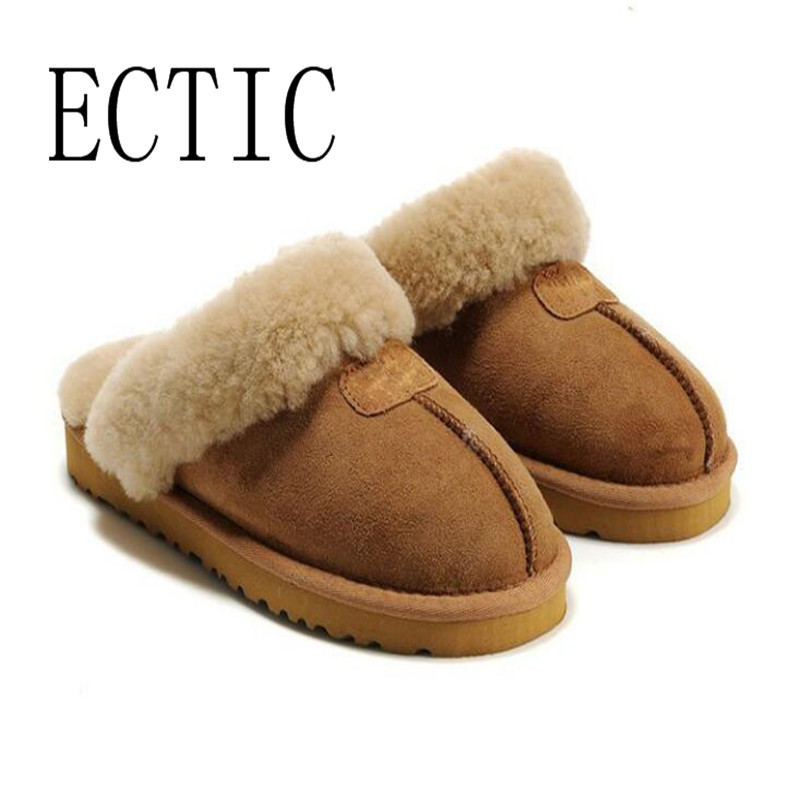2018 Geniune sheep leahter real Fur slipper Wool Winter Slippers Women Home Shoes Warm Comfort Indoor House Use Slippers 35-45