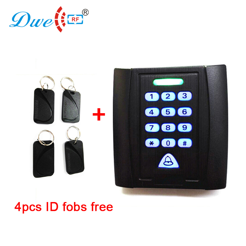 Free shipping 125khz ID card indoor standalone single door access control keypad with key fobs factory price em id 125khz backlight rfid id card 1600 users single door access control system with keypad free shipping