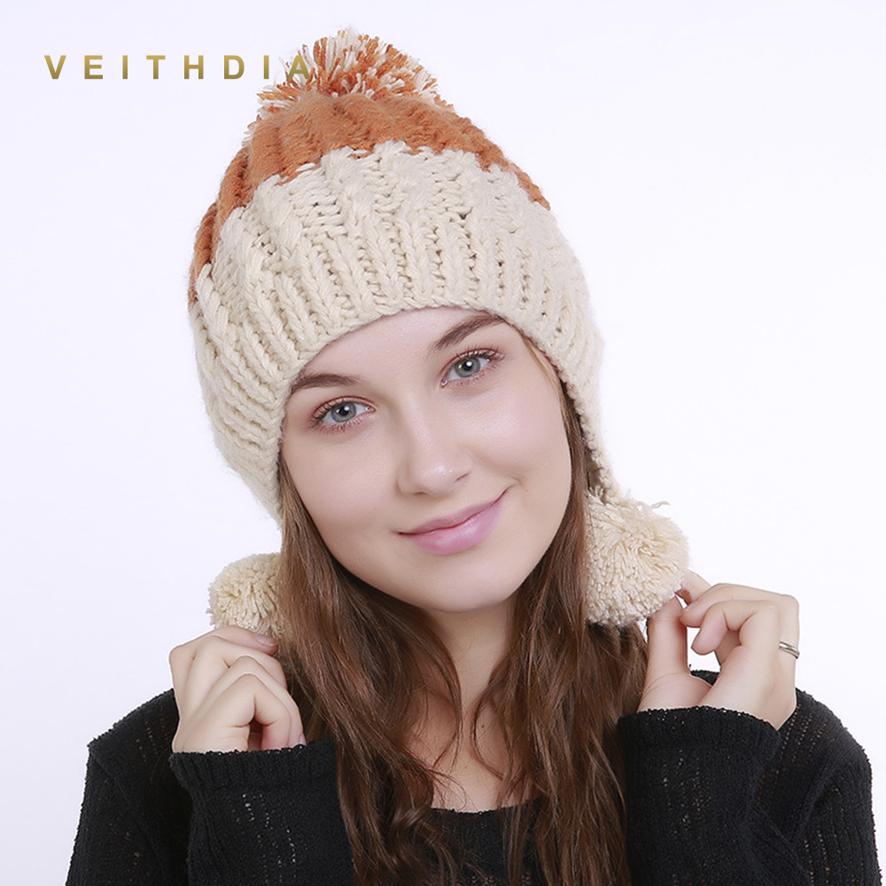 VEITHDIA 2019 Handmade Autumn Winter Knitted fish bone Hat Women Caps Bonnet Warm Baggy Winter Hats