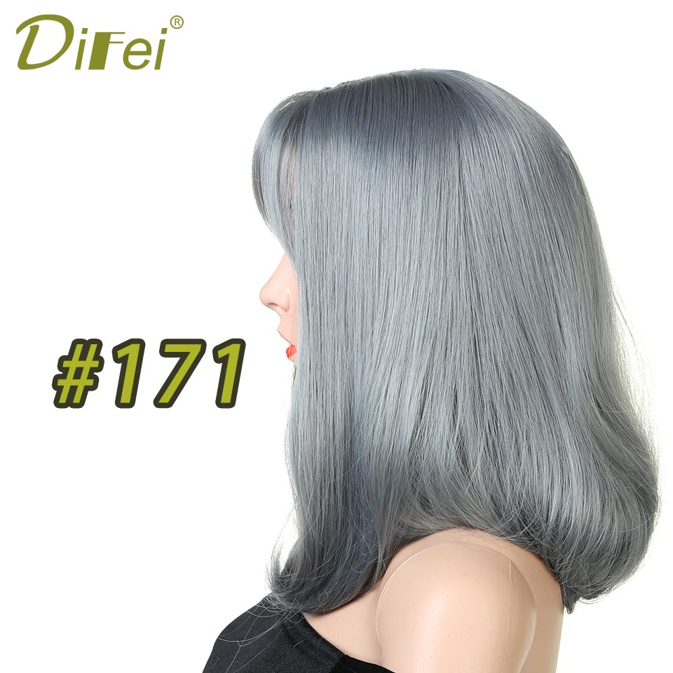 DIFEI Long Straight Wigs with Bangs Dark Brown Bob Wigs for Women Heat Resistant Synthetic Hair Wigs