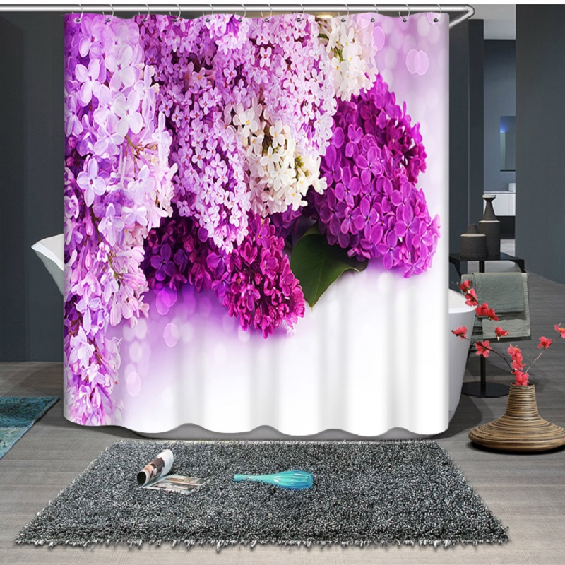 Beautiful Flower 3D Printing Pattern Modern Polyester Waterproof Mildew Shower Home Decoration