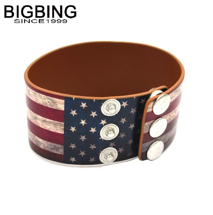 BIGBING Fashion jewelry USA flag leather wide bracelet ...