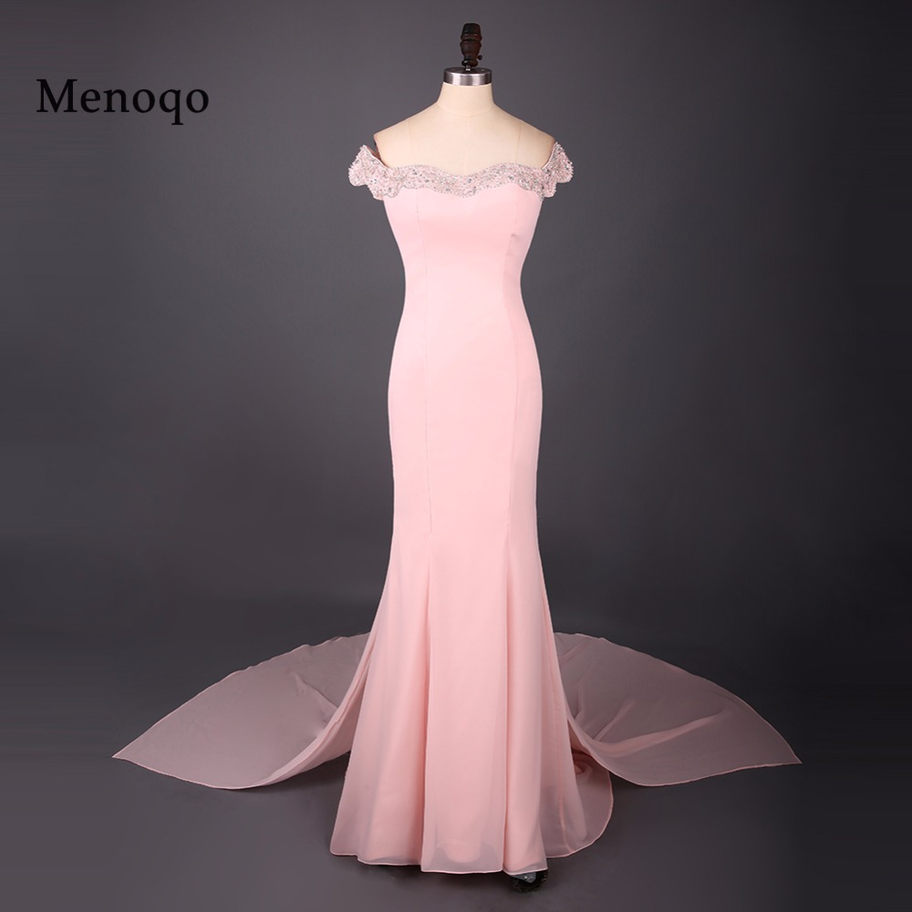 Simple Long Formal   Prom     Dresses   off the shoulder Sexy Back vestido de festa longo Mermaid Gown