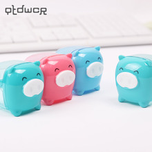 Pencil Sharpener Manual Stationery Colored Cartoon Pig for Kids Candy Transparent Creative