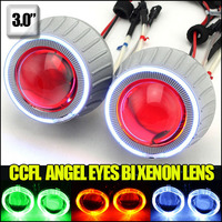 3.0 inch 35W hid bi xenon projector lens kit with CCFL angel eyes and demon eyes universal lamps for auto car headlight