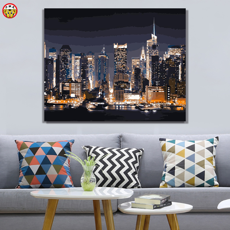Painting By Numbers Art Paint By Number DIY City Night Landscape Painting   Hand-filled Color Decoration Painting Oil Paintin