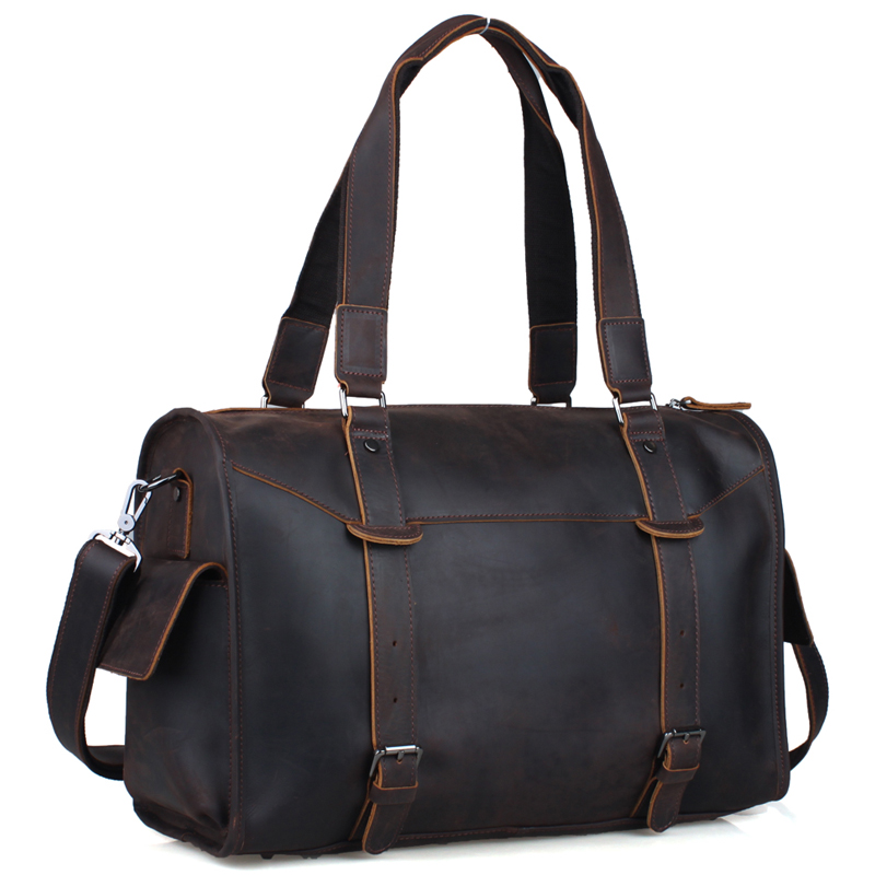 TIDING travel tote bags leather luxury duffle bags vintage overnight shoulder bag 1094