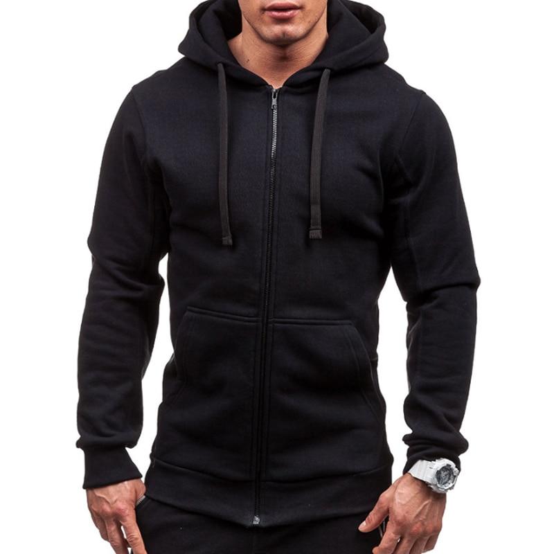 Sudadera con capucha de talla grande para hombre 2018 otoño invierno con cordón de bolsillo Sudadera con capucha de manga larga Zip abrigo Delgado chaqueta masculina