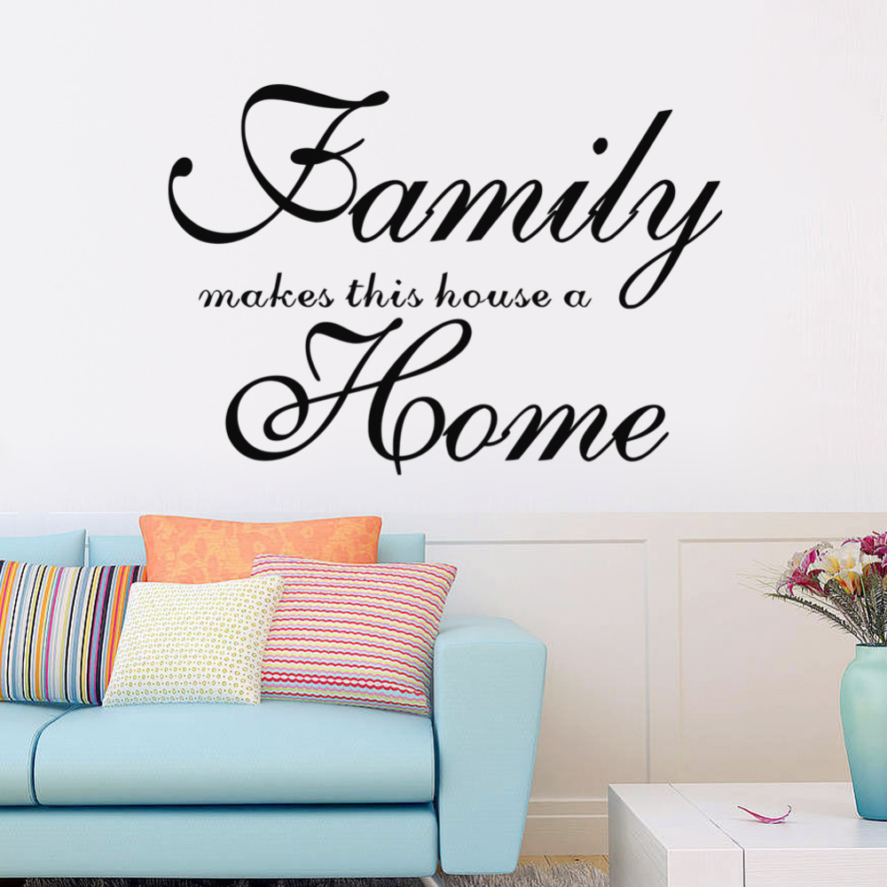 Family makes this house a home wall decal vinyl wall art for Living room quotes sayings