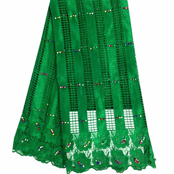 Nigeria Wedding 2018 Green African Cord Lace Fabric High Quality Fashion Embroidered Guipure Lace Fabric For Party Dress 195
