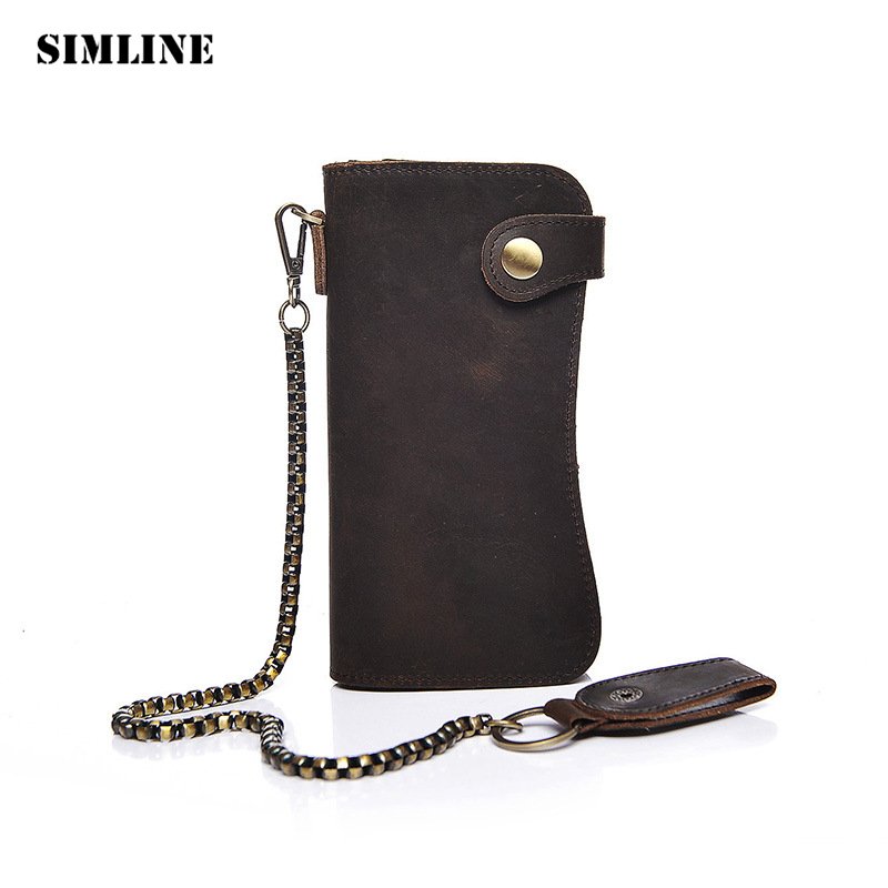SIMLINE Genuine Leather Men Wallet Men's Long Vintage Crazy Horse Cowhide Chain Wallets Purse Zipper Coin Pocket Card Holder genuine crazy horse cowhide leather men wallets fashion purse with card holder vintage long wallet clutch bag coin purse tw1648