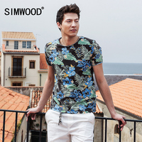 SIMWOOD 2017 Summer New Hawaiian T Shirts Men Shorts Sleeve Print O Neck Slim Fit 100