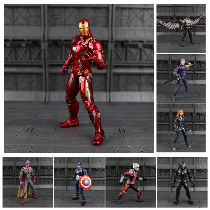 Captain America Civil War Action Black Panther Winter Soldier Falcon Scarlet Witch Vision Hawkeye Action Figure Model Toys N033 captain america civil war iron man 618 q version 10cm nendoroid pvc action figures model collectible toys