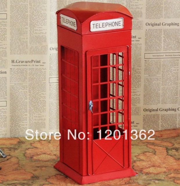London Telephone Booth Collection Model Metal Art Crafts Bar Home  Decoration Antique Imitation Storage Cabinet Large