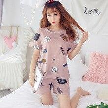 New Cute lady pajamas round neck cartoon print summer pyjamas casual indoor home clothing pj for women set pijama mujer
