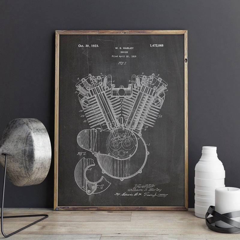 Motorcycle Engine 1919 Patent Blueprint Poster Prints Science Wall Art Canvas Painting Picture Home Room Wall Decor Gift Idea
