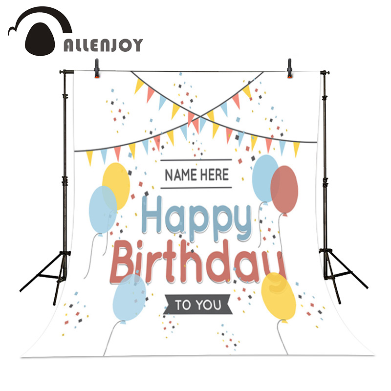 Allenjoy theme photography Celebration background vinyl Happy Birthday Colored balloons flags baby backdrops Personal customized kids birthday balloons mini crown number balloons boy happy birthday candy princess balloon 40 30cm not include stander