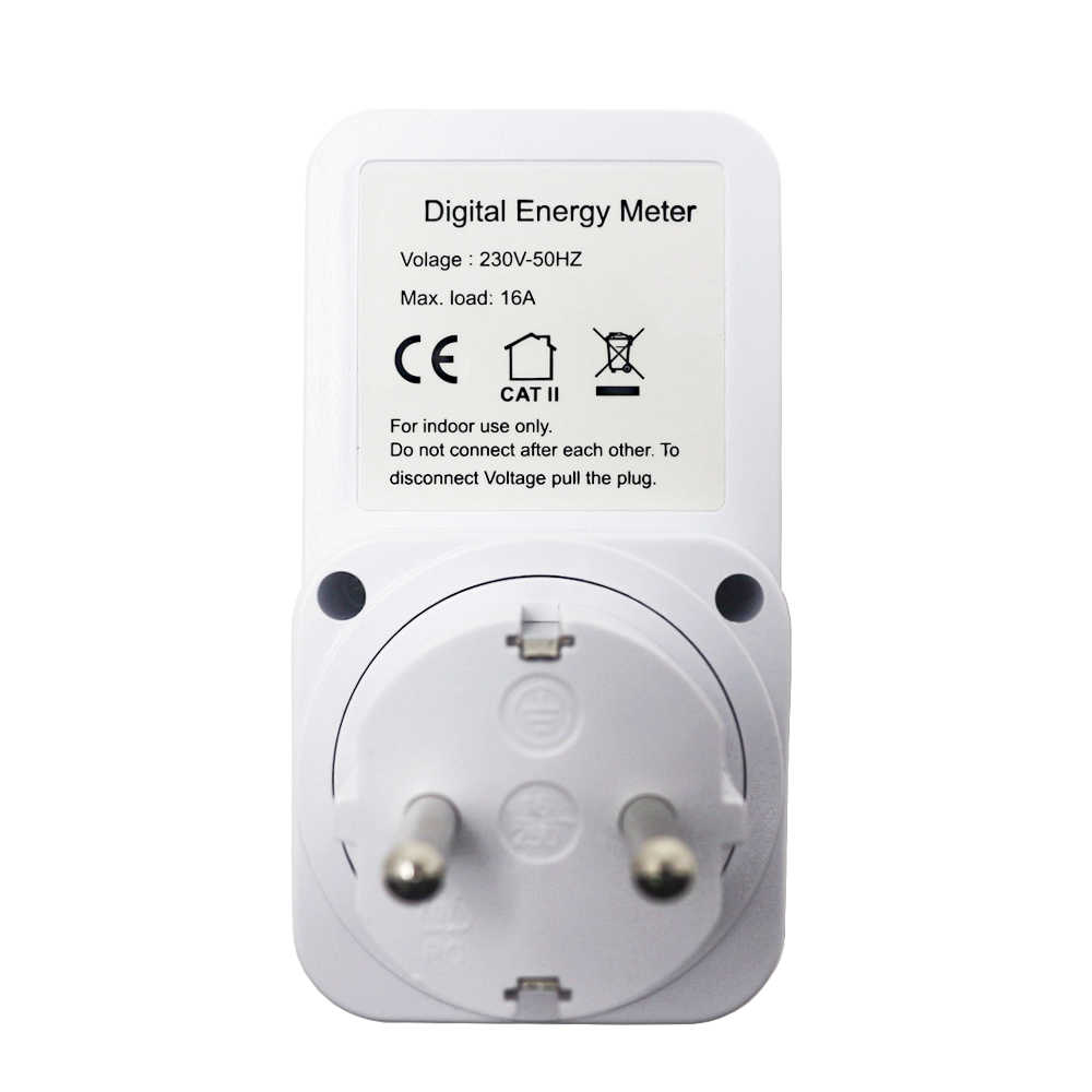 EU Plug Digital Wattmeter Energy Meter LCD Display Power Monitor Meter Electricity Test Measuring Socket
