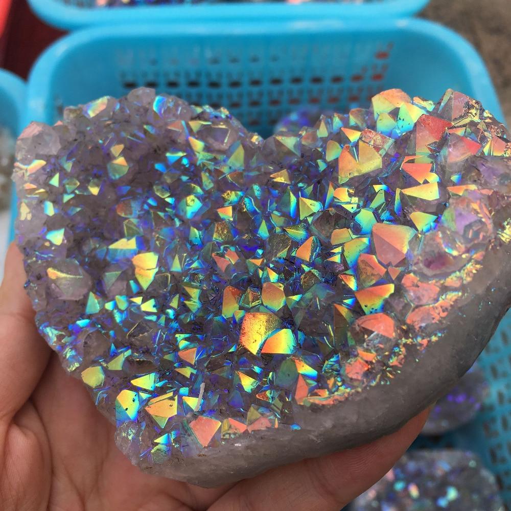 Natural aura amethyst quartz crystal cluster heart shape healing stones (3)