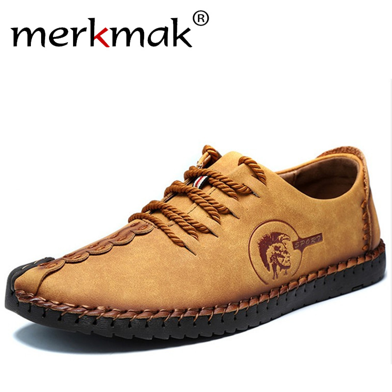 Merkmak Comfortable Men Casual Shoes Microfiber Leather Soft Leisure Mens Loafers Adults Male Breathable Footwear bimuduiyu new england style men s carrefour flat casual shoes minimalist breathable soft leisure men lazy drivng walking loafer