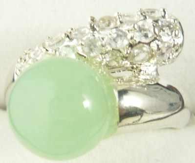 ขายส่ง noble light สีเขียวหยกธรรมชาติคริสตัล inlay แหวนแฟชั่น (#7.8.9)