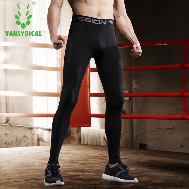 5474e687d8 Vansydical Men's Running Compression Pants Elastic Tights Fitness Training Basketball  Jogging Sports Gym Leggings