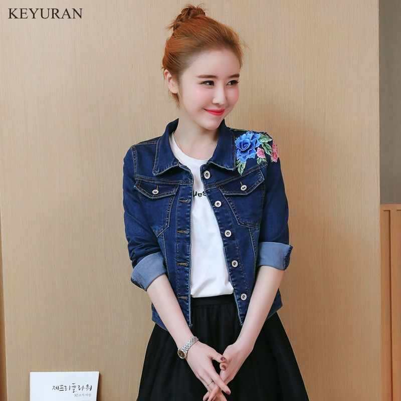 9a95a70d0b6 2019 Girl Sweet 3D Flower Embroidered Casual Denim Jacket Long Sleeve Spring  Autumn Jeans Coat Womens