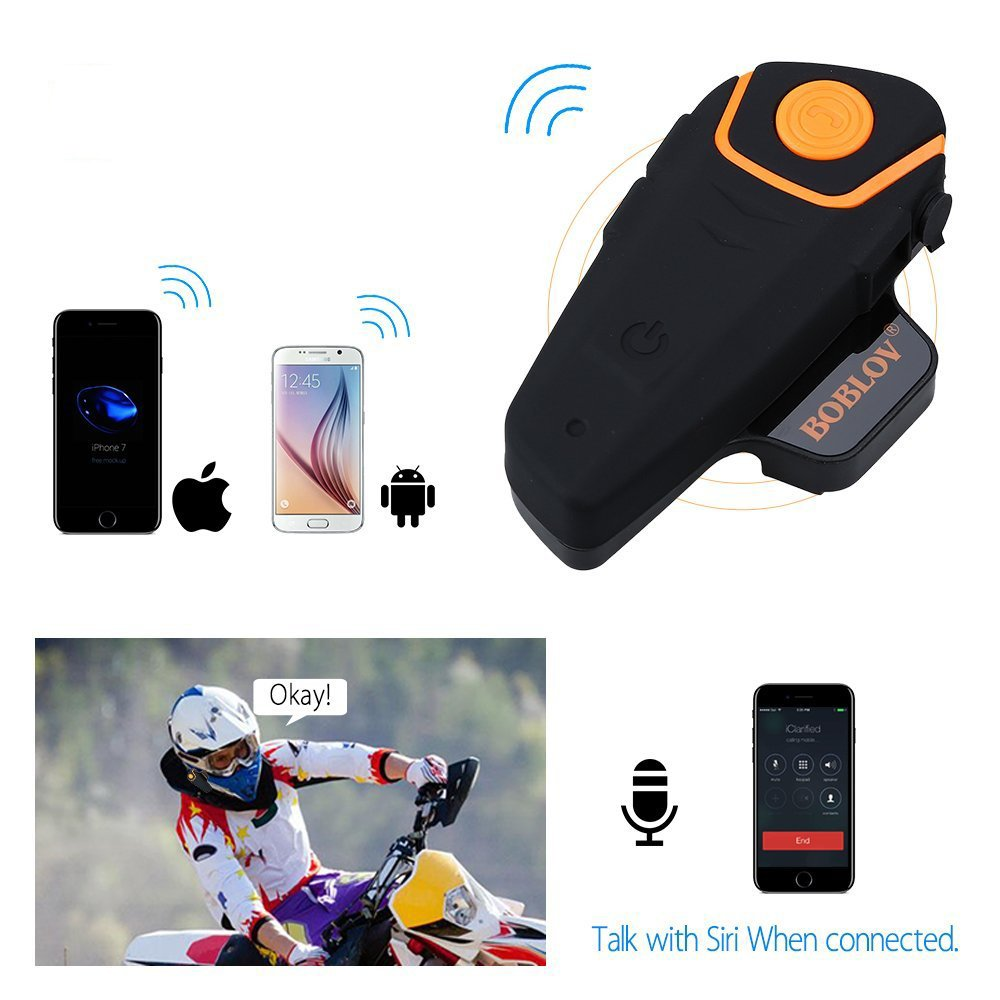 BOBLOV BT-S2 1000m Motorcycle Helmet Intercoms Handsfree BT Motorbike Bluetooth Headset Interphone Waterproof FM MP3 EU Plug