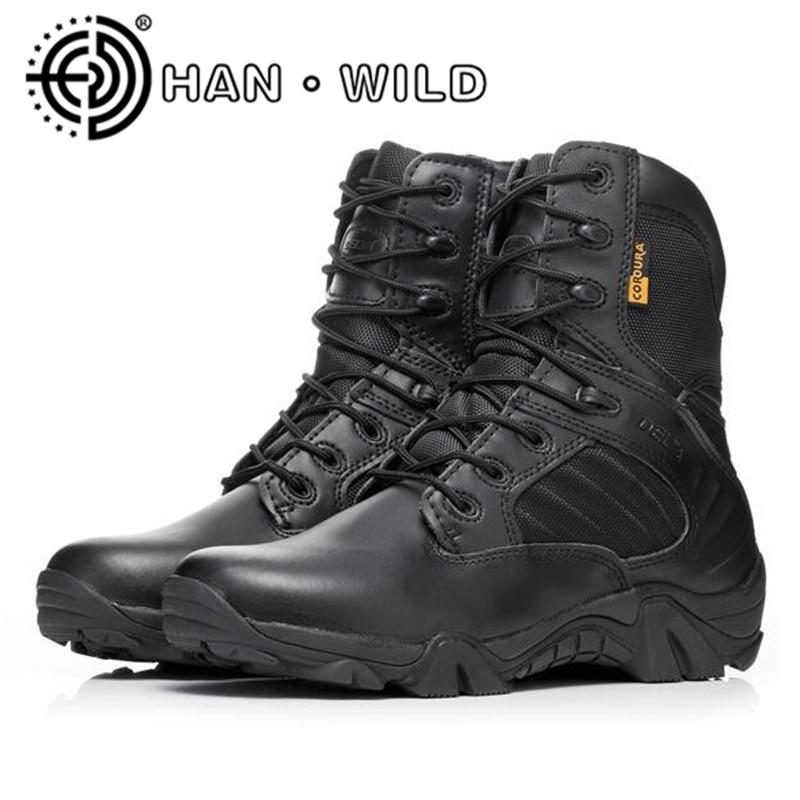 Unter Der Voraussetzung Männer Military Tactical Stiefel Winter Leder Schnee Stiefel Spezielle Kraft Wüste Ankle Kampf Stiefel Männer Sicherheit Arbeit Schuhe Armee Stiefel