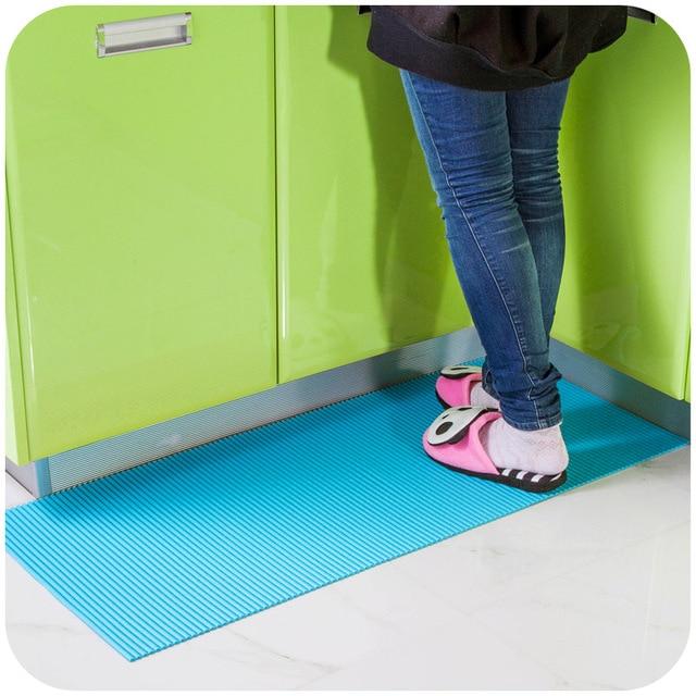 1pc Cuttable Waterproof Pvc Comfortable Non Slip Mat Kitchen Cabinets Mats Bathroom Carpet