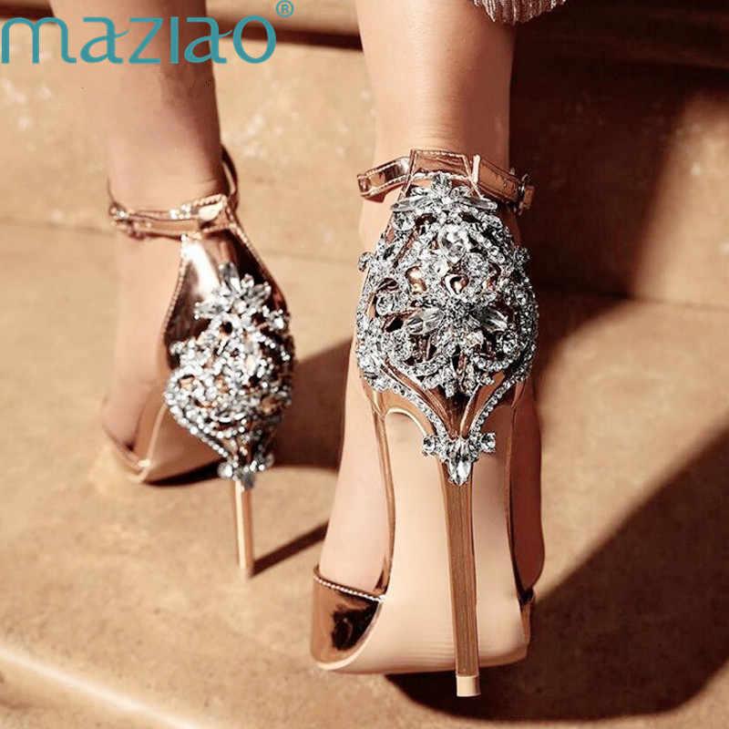 Wanita Kristal Glitter Sandal Pompa Sandal Tumit Tinggi Wanita Cover Tumit Pesta Seksi Sepatu Elegan Rhinestone Stiletto Maziao