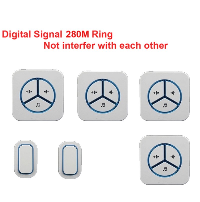 2 emitters+4 receivers doorbell Waterproof 280m work wireless doorbell,wireless door chime,wireless bell, 48 melodies door bell new door ring waterproof 280m long range wireless doorbell wireless door chime wireless bell door bell 48 melodies