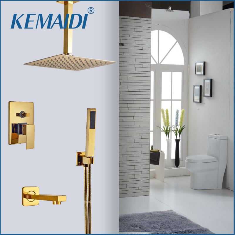 KEMAIDI Wholesale And Retail Golden Brass Showr Head Single Handle Valve Mixer Tap W/ Hand Shower Hot Cold Mixer